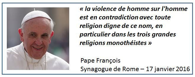 Pape François-déclaration Synagogue de Rome-17.01.2016