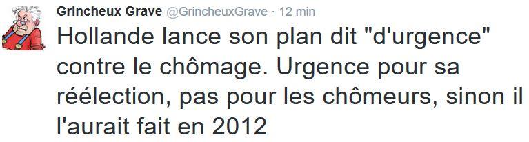 TWEET GG-Hollande plan d'urgence contre le chômage-18.01.2016