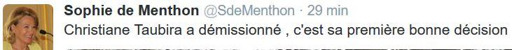 TWEET Sophie de Menthon-Taubira démissionne-27.01.2016