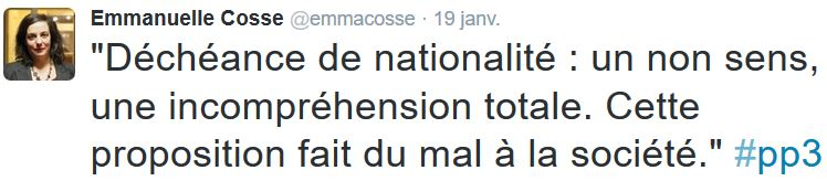 TWEET-Emmanuelle Cosse-19.01.2016