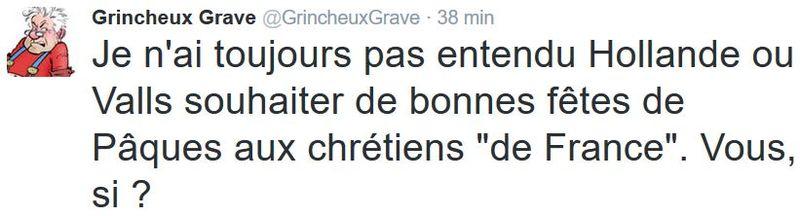 TWEET GG-Hollande Valls pas de voeux de Pâques 2016