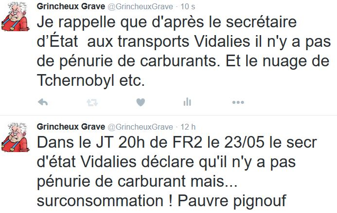 TWEET-Vidalie pénurie de carburant-24-25.05.2016