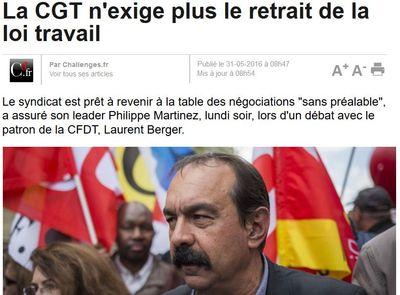 La CGT n'exige plus le retrait de la Loi Travail-31.05.2016