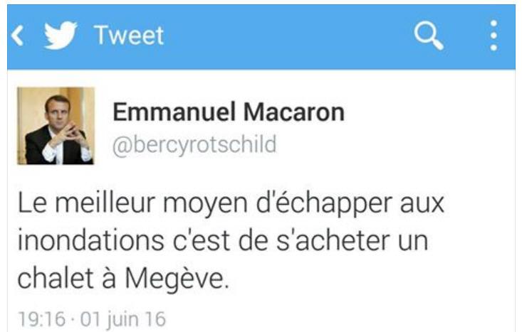TWEET Emmanuel Macaron -chalet à Megève