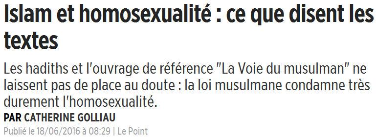 Islam et homosexualité-Le Point-Juin 2016