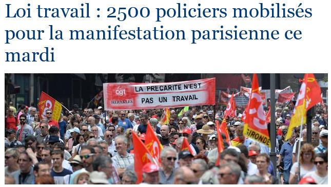 Manif Loi Travail du 28 juin 2016 -  2 500 policiers