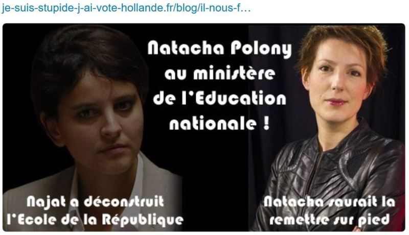 Natacha Polony ministre de l'éducation
