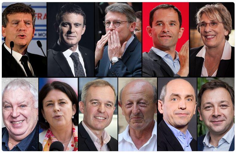 Les onze de la primaire de gauche 2017-07.12.2016
