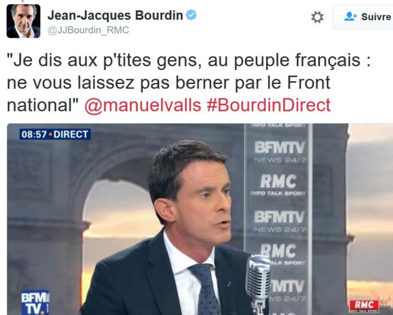 TWEET JJ BOURDIN-Valls par aux petites gens