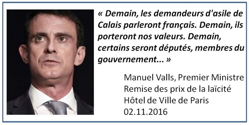 Valls parle des migrants - nov 2016
