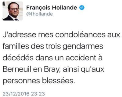 TWEET HOLLANDE - condoléances aux blessés-23.12.2016