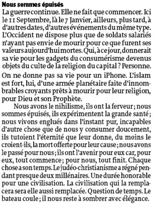 Michel Onfray-Nous sommes épuisés-Extrait du livre DECADENCE