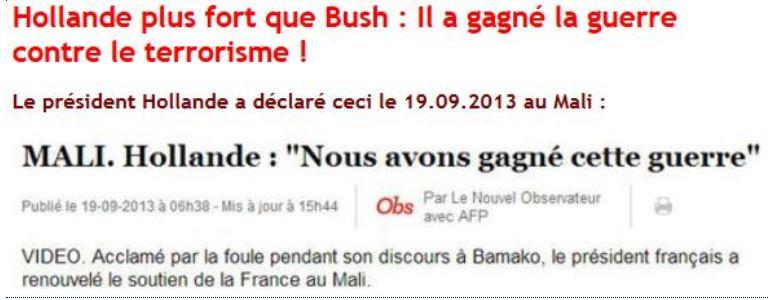Hollande gagne la guerre au Mali le 19.09.2013