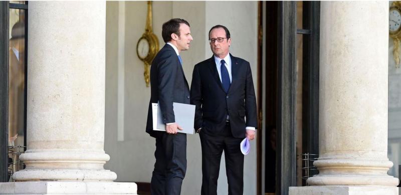 Macron et Hollande en avril 2015