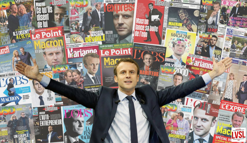 Macron devant ses couv de presse