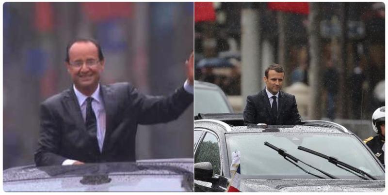 Hollande 2012-Macron 2017-sous la pluie