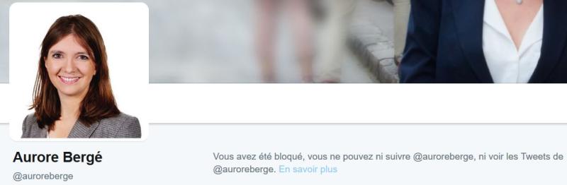 Aurore Bergé blocage Twitter et Facebook