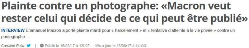 Macron porte plainte contre un photographe-16.08.2017