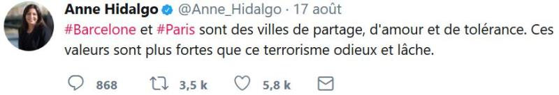 Anne Hidalgo TWEET Barcelone du 17.08.2017