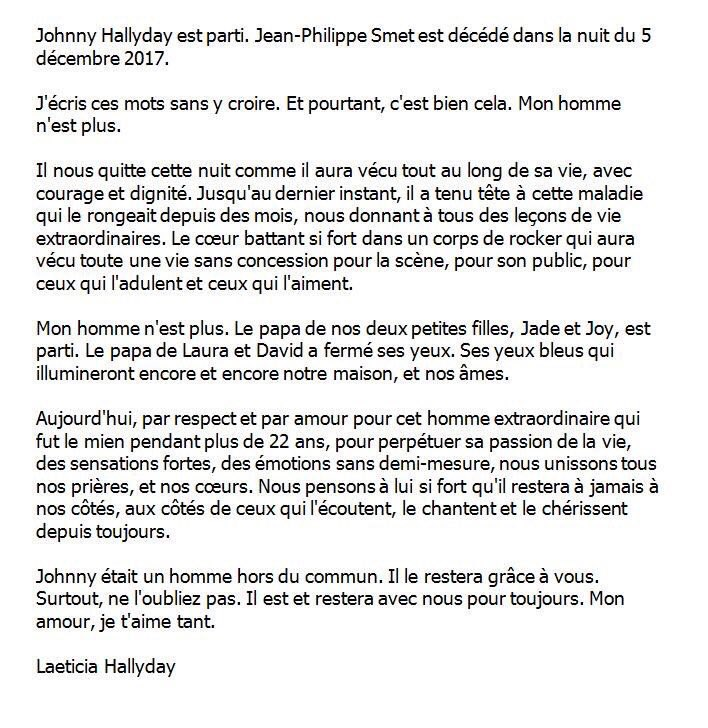 Communiqué de Laetitia annonçant la mort de Johnny Hallyday-06.12.2017