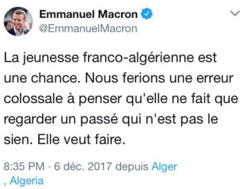 Macron-tweet Alger 06.12.2017