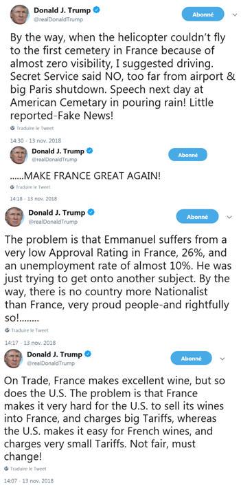 Trump - rafale de tweets - 13.11.2018