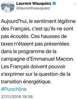 Laurent Wauquiez - Tweet - 27.11.2018