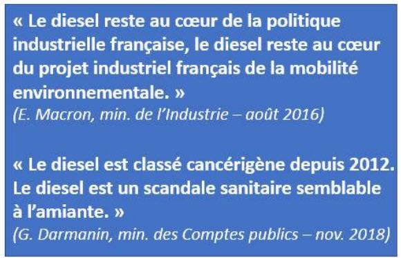Macron 2016 et Darmanin 2018 au sujet du diesel