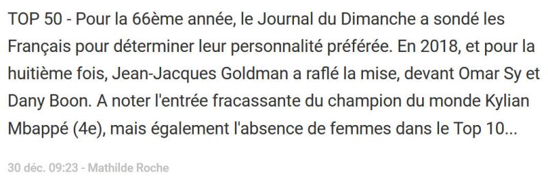 JJ Goldman personnalité préférée des Français