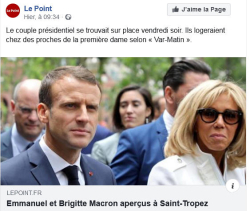 LE POINT le couple présidentiel à St Tropez