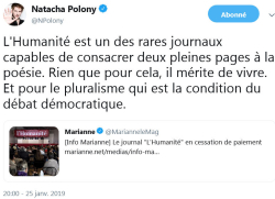 Natacha Polony L'Humanité - 25.01.2019 TWEET