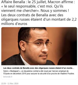 Affaire Benalla LE MONDE 11.02.2019