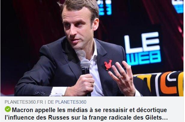 Macron dénonce l'influence des Russes