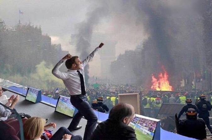 Macron devant Paris en feu