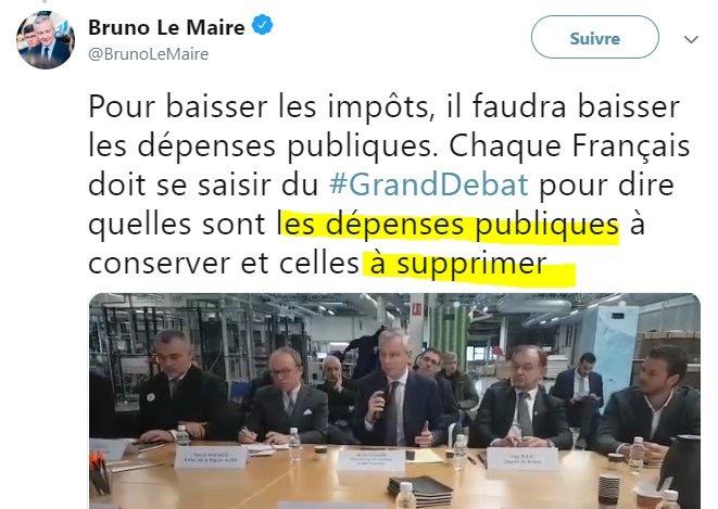 Bruno Le Maire TWEET dépenses publiques
