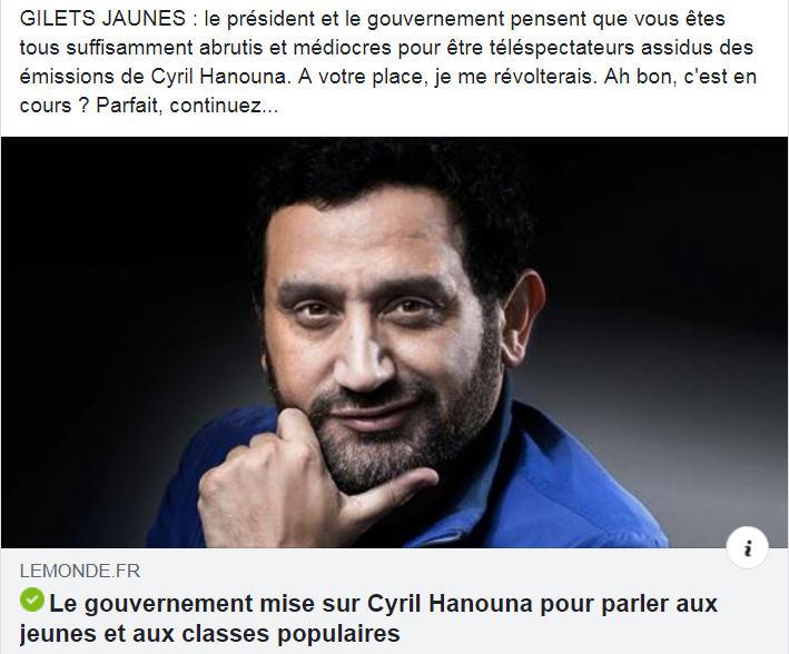 Le gouvernement compte sur Hanouna