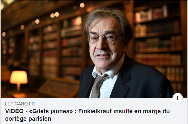 Finkielkraut insulté en marge du cortège des GJ