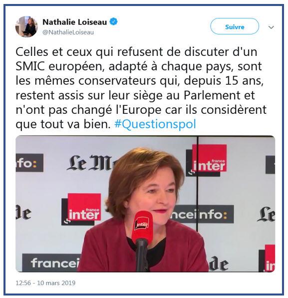 Nathalie Loiseau TWEET smic européen - 10.03.2019