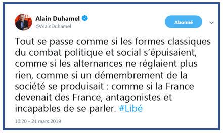 Alain Duhamel - démembrement de la société TWEET 21.03.2019.