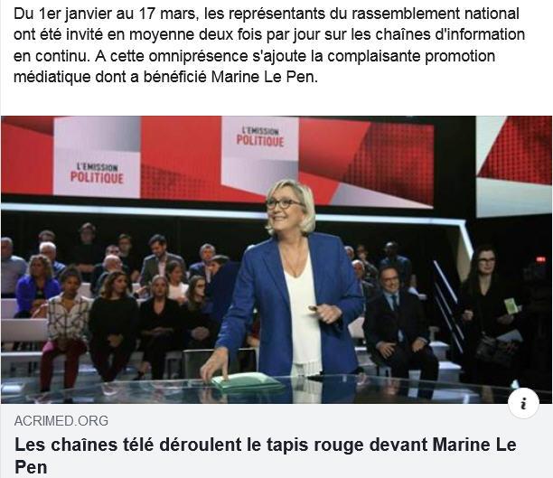 Acrimed tapis rouge pour Le Pen
