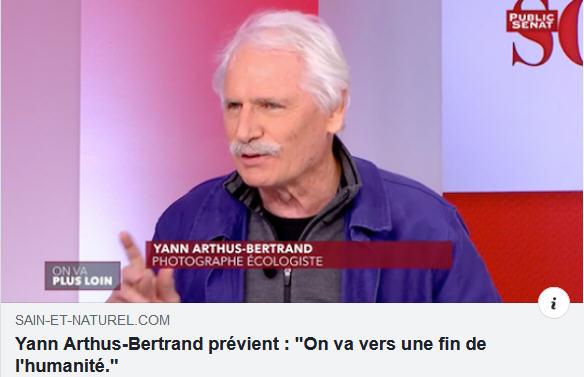 Yann Arthus-Bertrand vers la fin de l'humanité